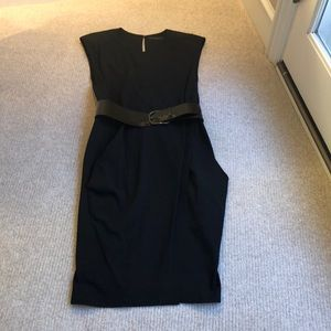 Vintage black dress with belt.